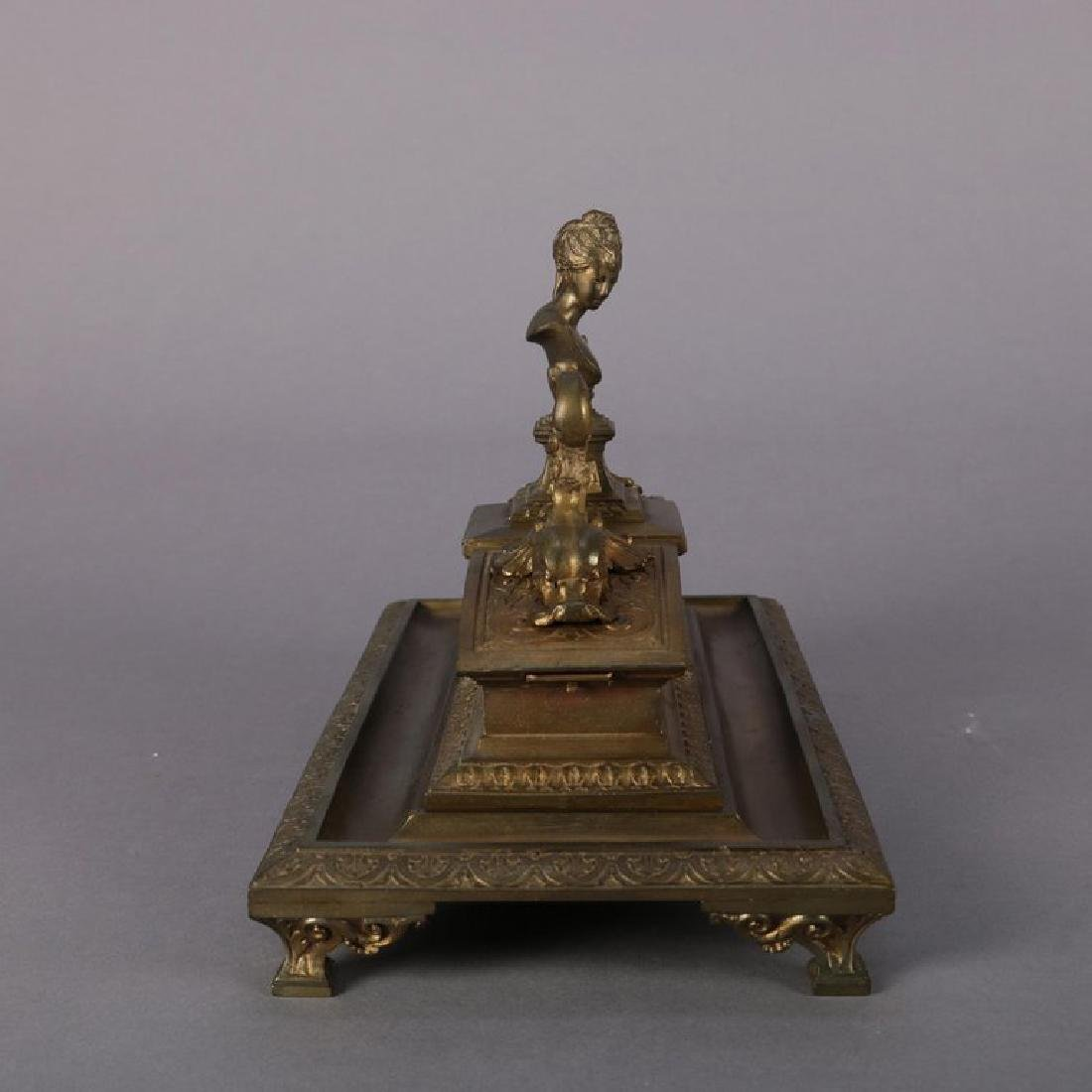 French Figural Marie Antoinette Bronzed Double Ink Well - 5