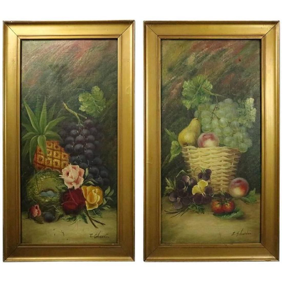 Pair of Antique Oil on Canvas Fruit & Floral Paintings