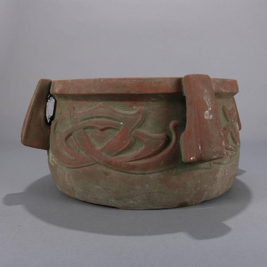 Arts & Crafts Terracotta High Relief and Handled - 3