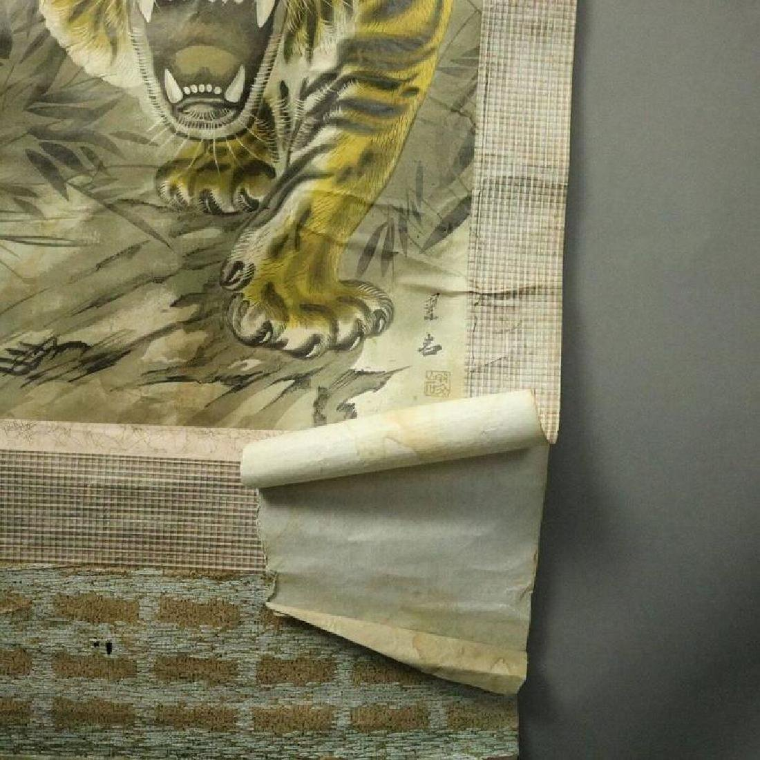 Antique Chinese Scroll Painting of Stalking Tiger, - 4