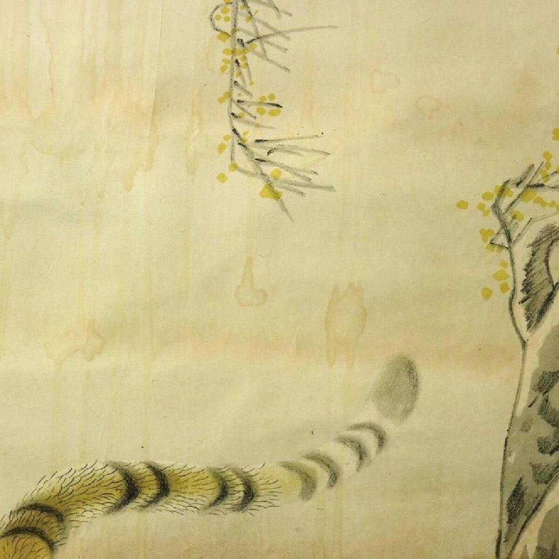 Antique Chinese Scroll Painting of Stalking Tiger, - 6