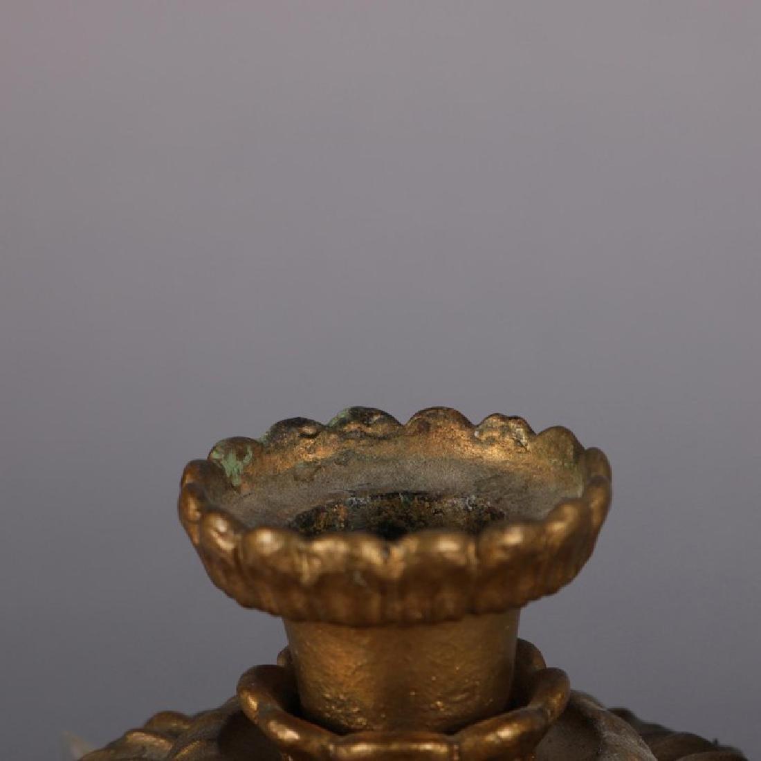 Antique French Gilt Metal & Crystal Figural Girandole - 10