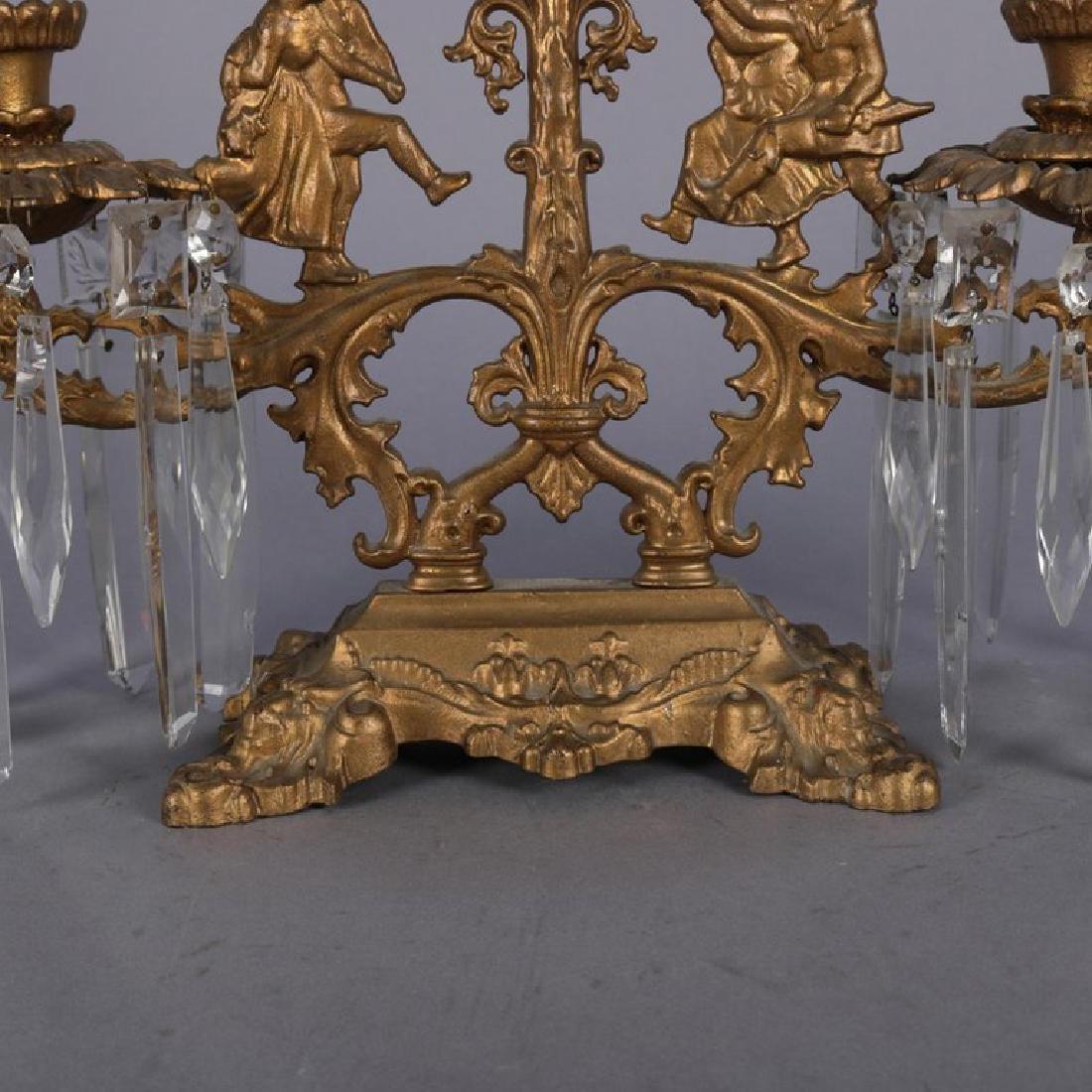 Antique French Gilt Metal & Crystal Figural Girandole - 4
