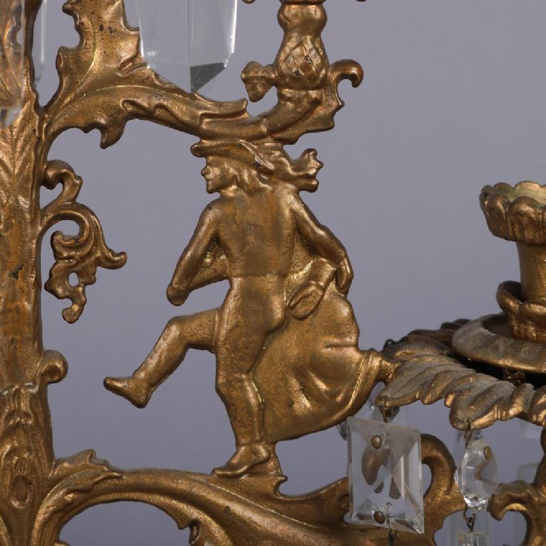 Antique French Gilt Metal & Crystal Figural Girandole - 7
