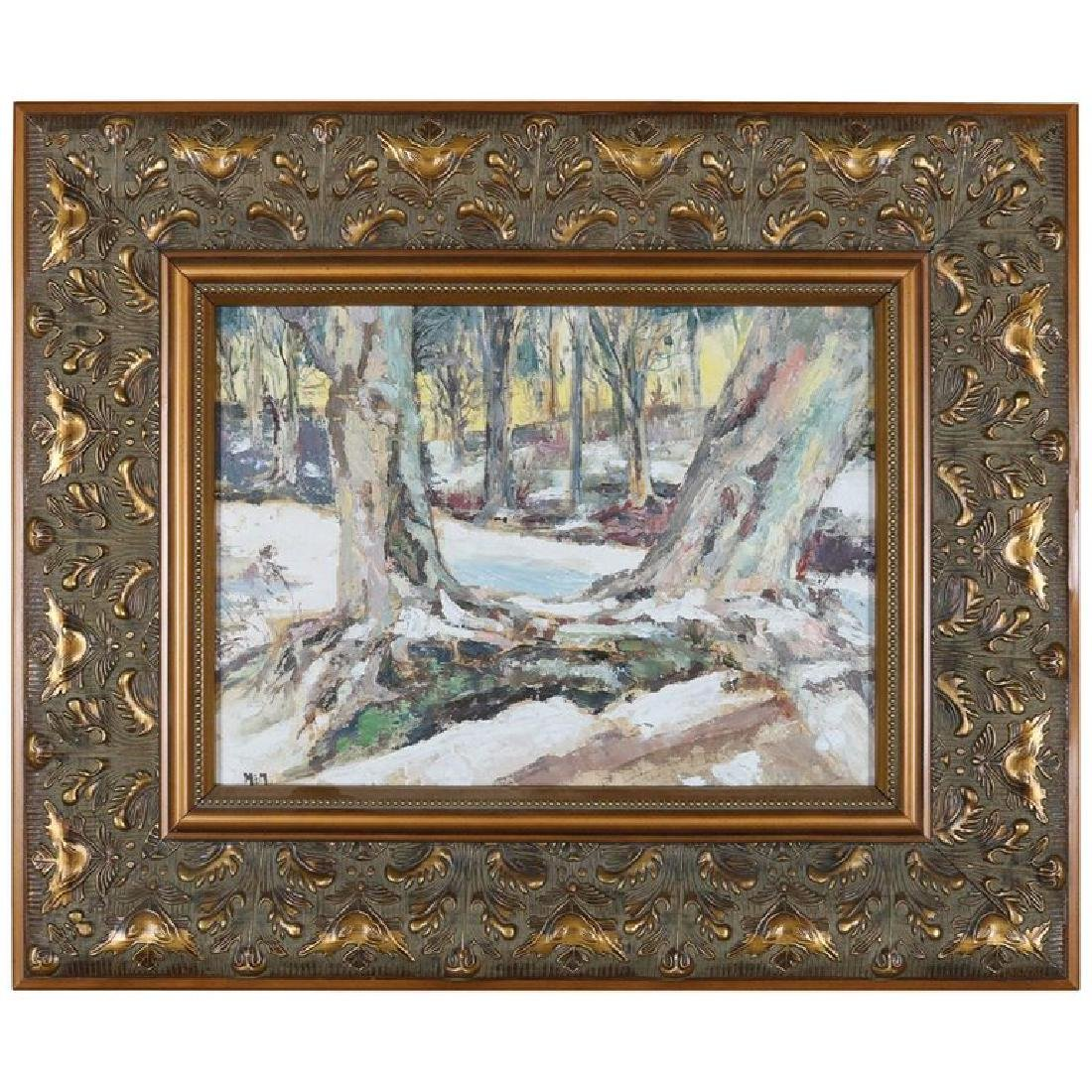Oil on Canvas Impressionist Winter Landscape Painting