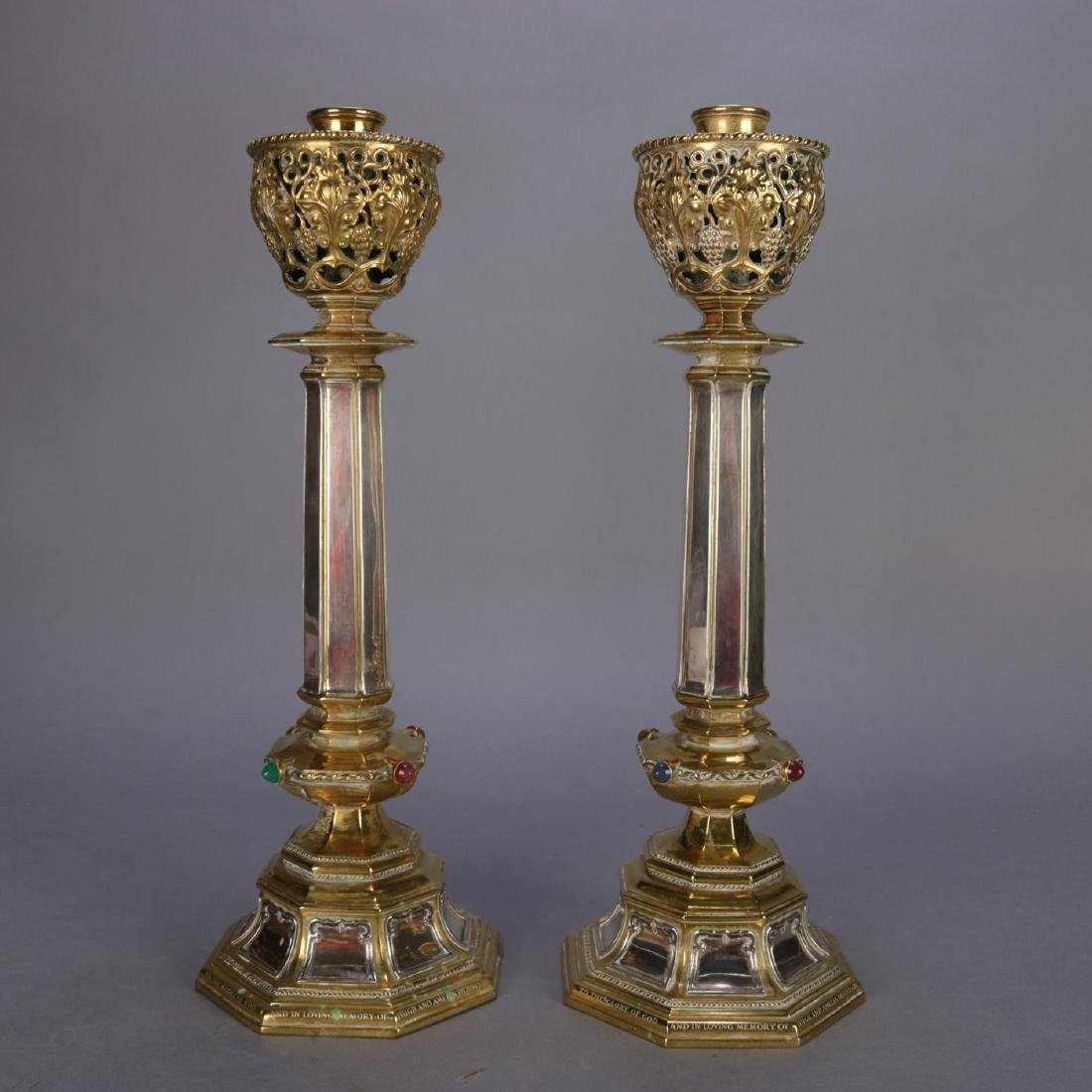 Antique Brass & Silver Jeweled Ceremonial Candle Sticks - 2