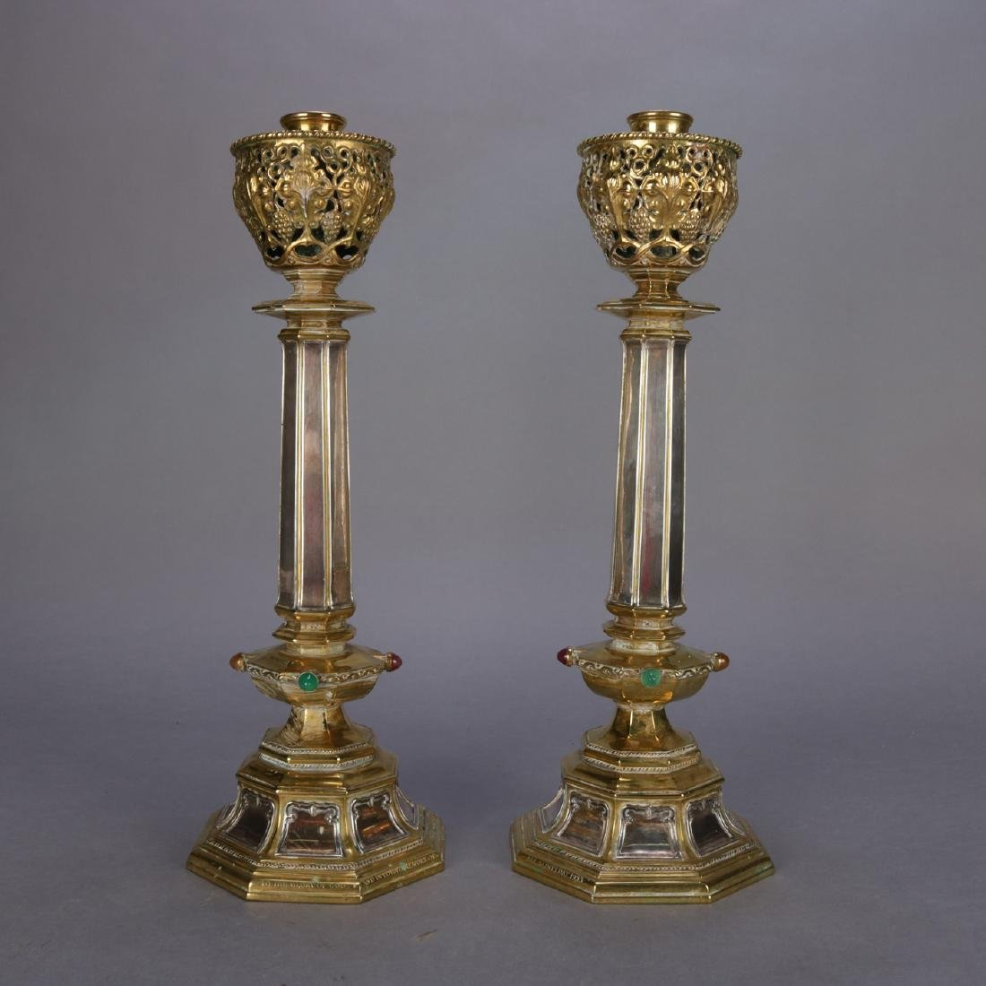 Antique Brass & Silver Jeweled Ceremonial Candle Sticks - 3
