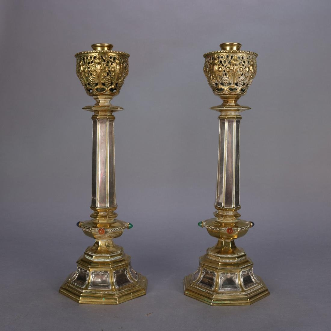 Antique Brass & Silver Jeweled Ceremonial Candle Sticks - 7