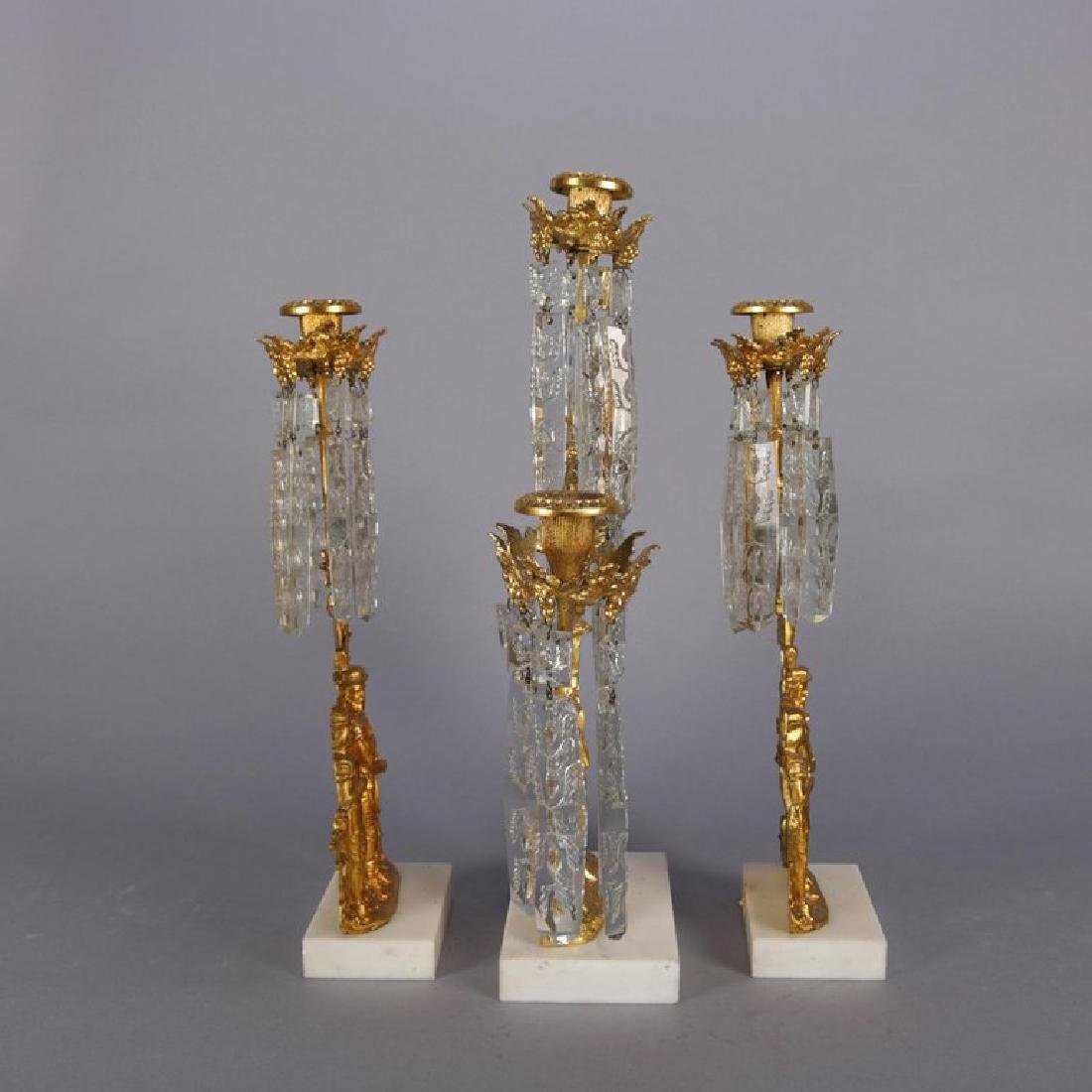 Antique French Gilt Metal, Marble and Crystal Girandole - 9