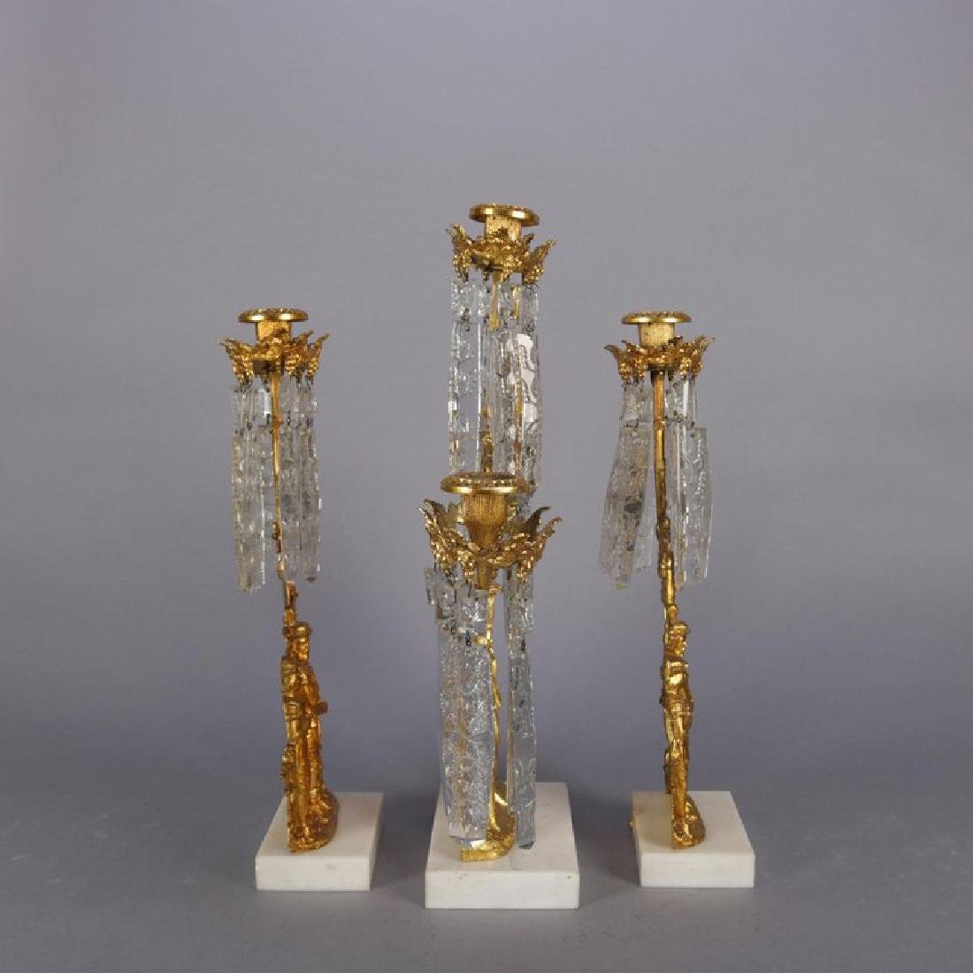 Antique French Gilt Metal, Marble and Crystal Girandole - 8