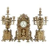 Antique French Louis XV Gilt Bronze Clock & Candelabra