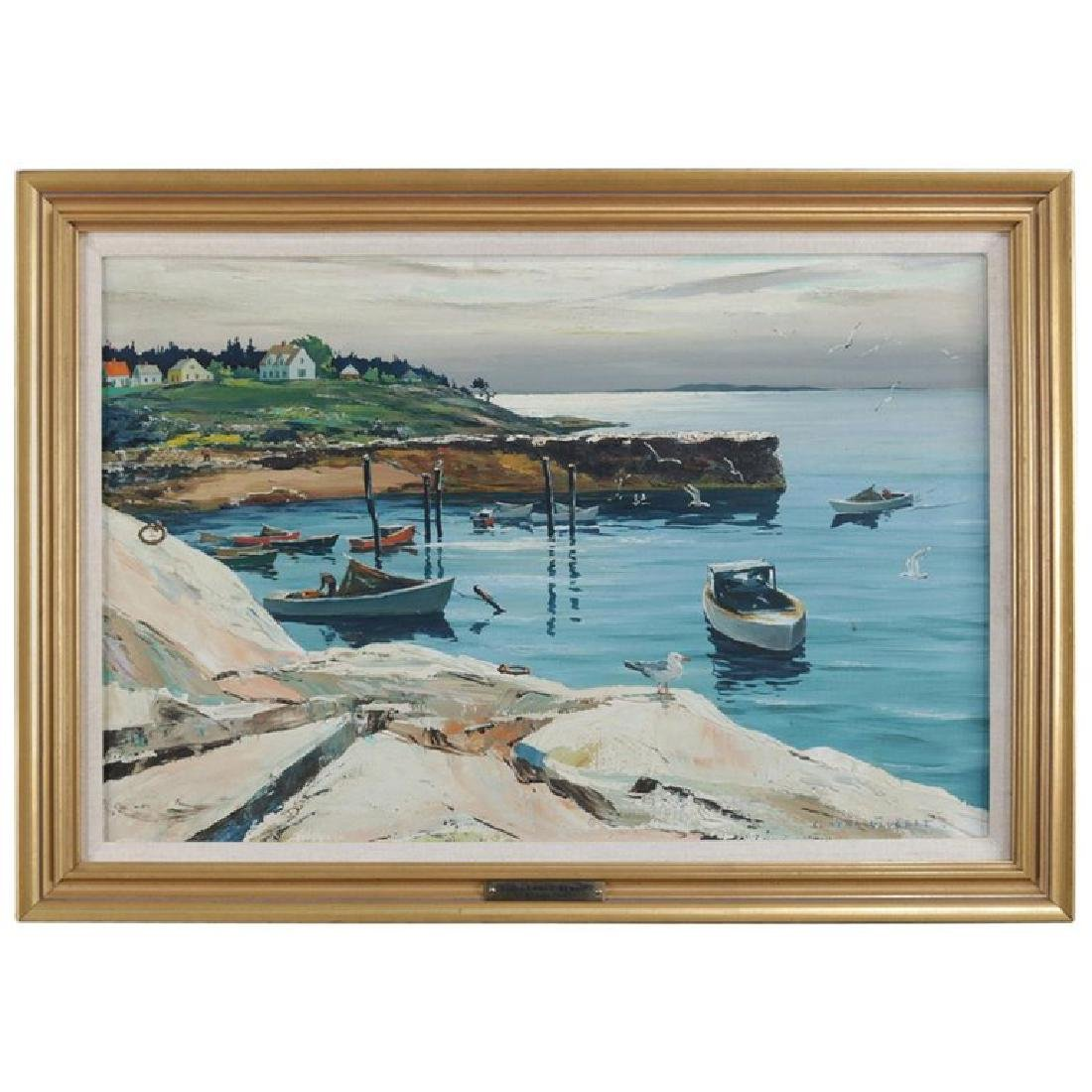 "Oil on Canvas ""Fisherman's Landing"" by Carl Gilbert"
