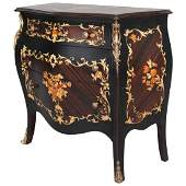 Vintage French Louis XVI Style Ebonized  Gilt Commode