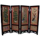 Chinese Black Lacquer Carved Jade  Stone Table Screen