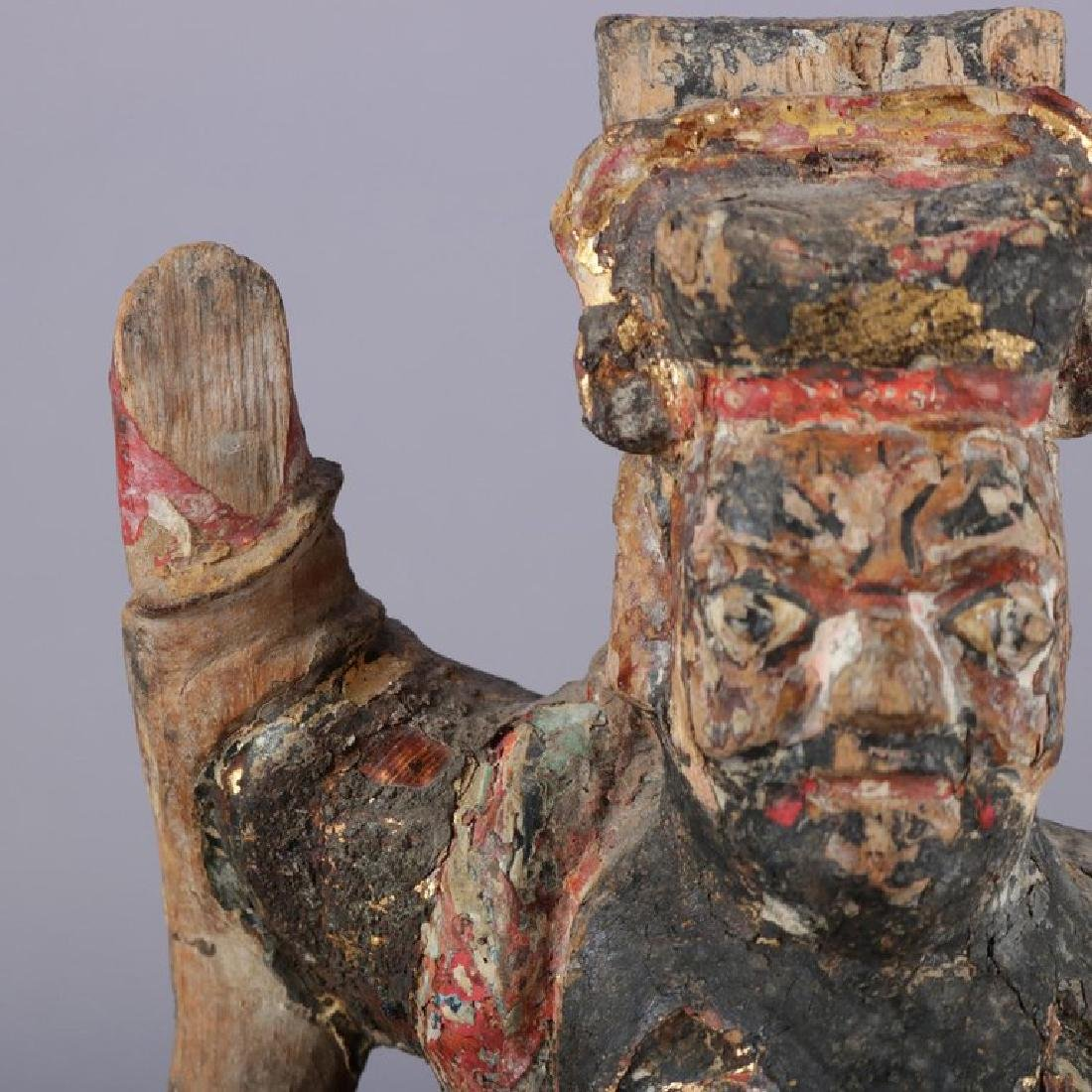 Antique Chinese Polychrome Carved Wood Warrior Portrait - 10
