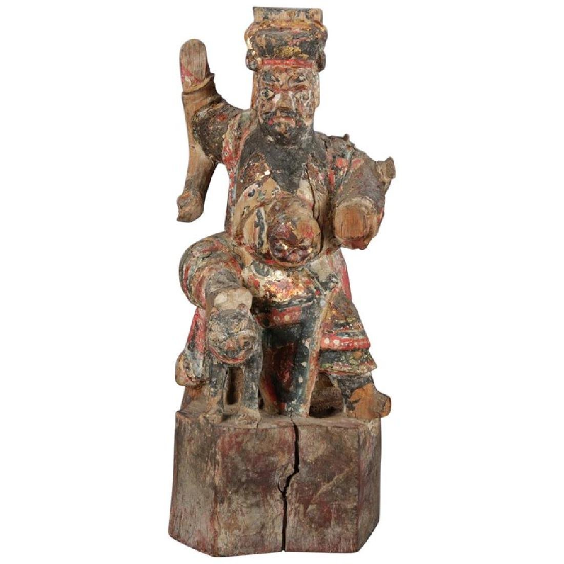 Antique Chinese Polychrome Carved Wood Warrior Portrait