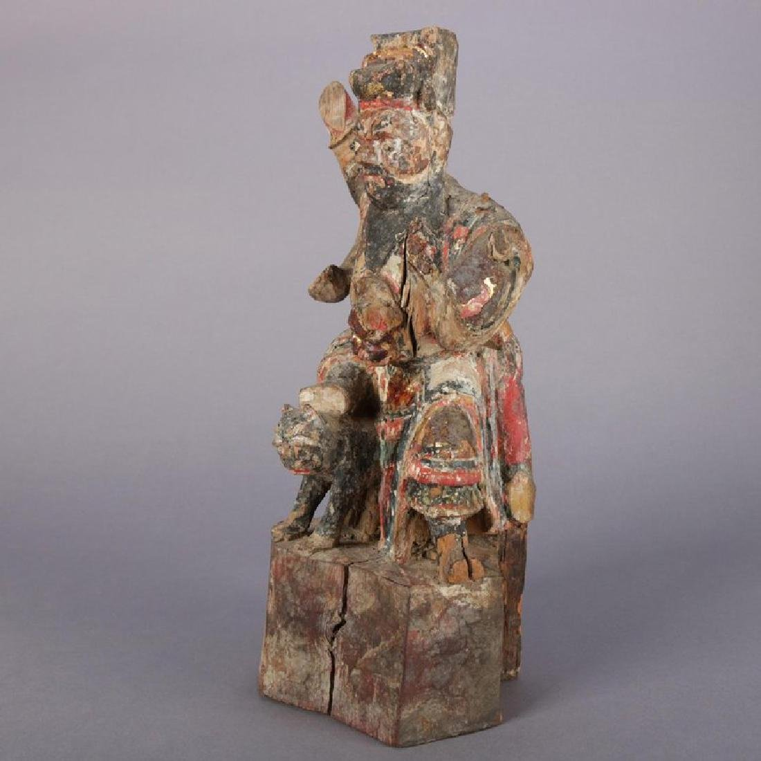 Antique Chinese Polychrome Carved Wood Warrior Portrait - 2