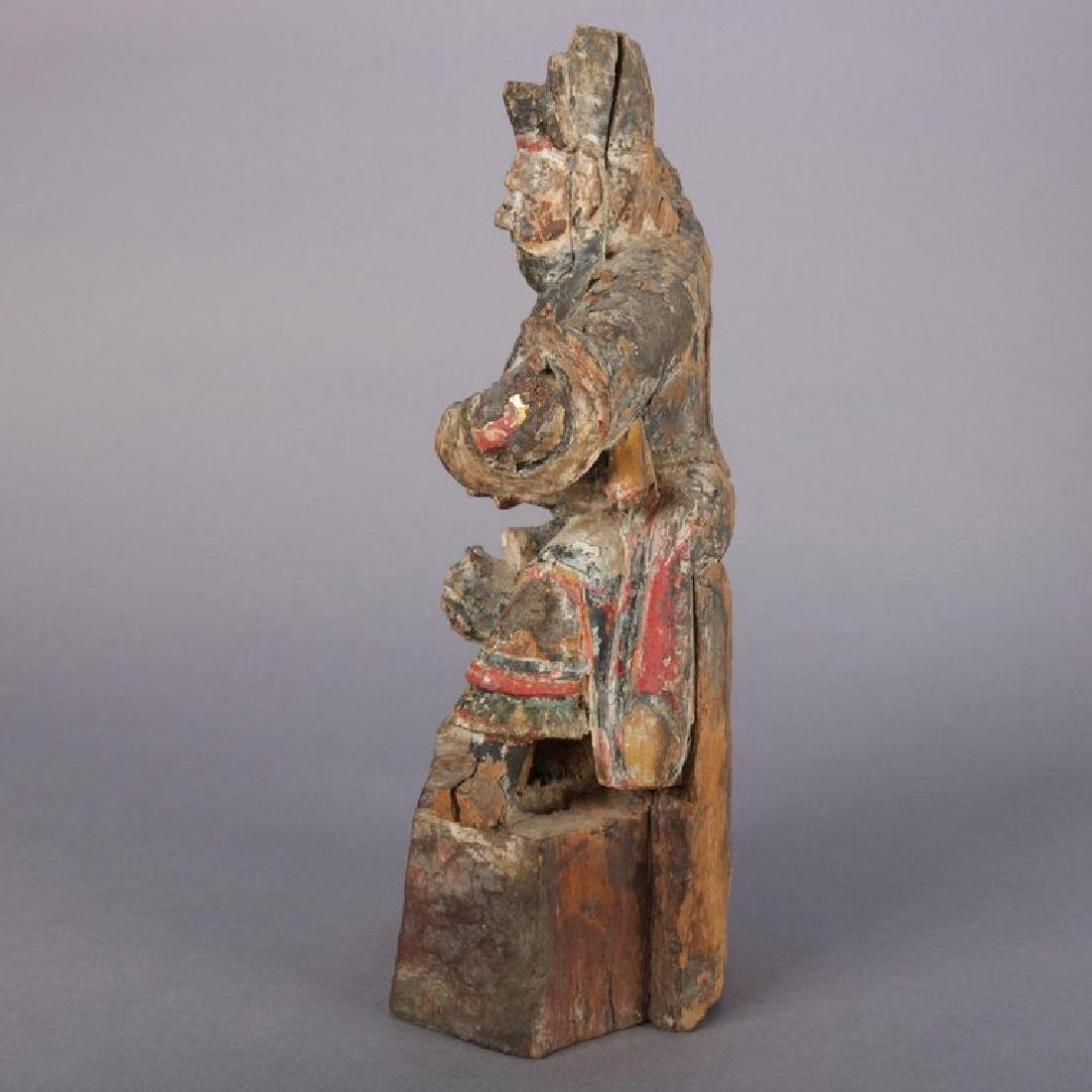Antique Chinese Polychrome Carved Wood Warrior Portrait - 3