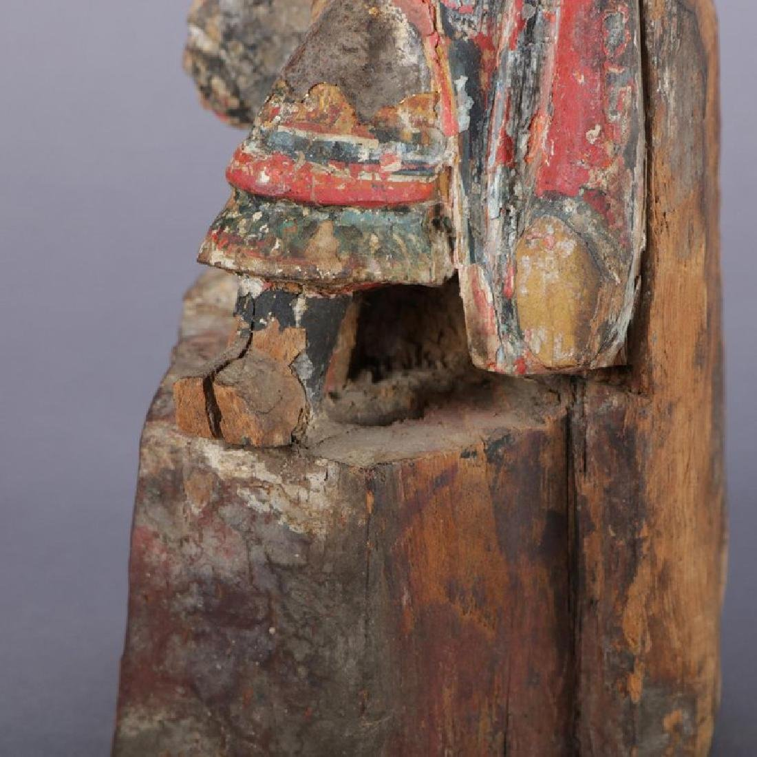 Antique Chinese Polychrome Carved Wood Warrior Portrait - 4