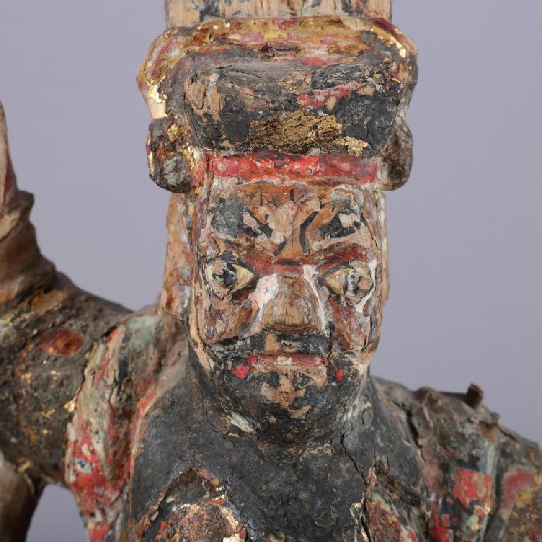 Antique Chinese Polychrome Carved Wood Warrior Portrait - 9