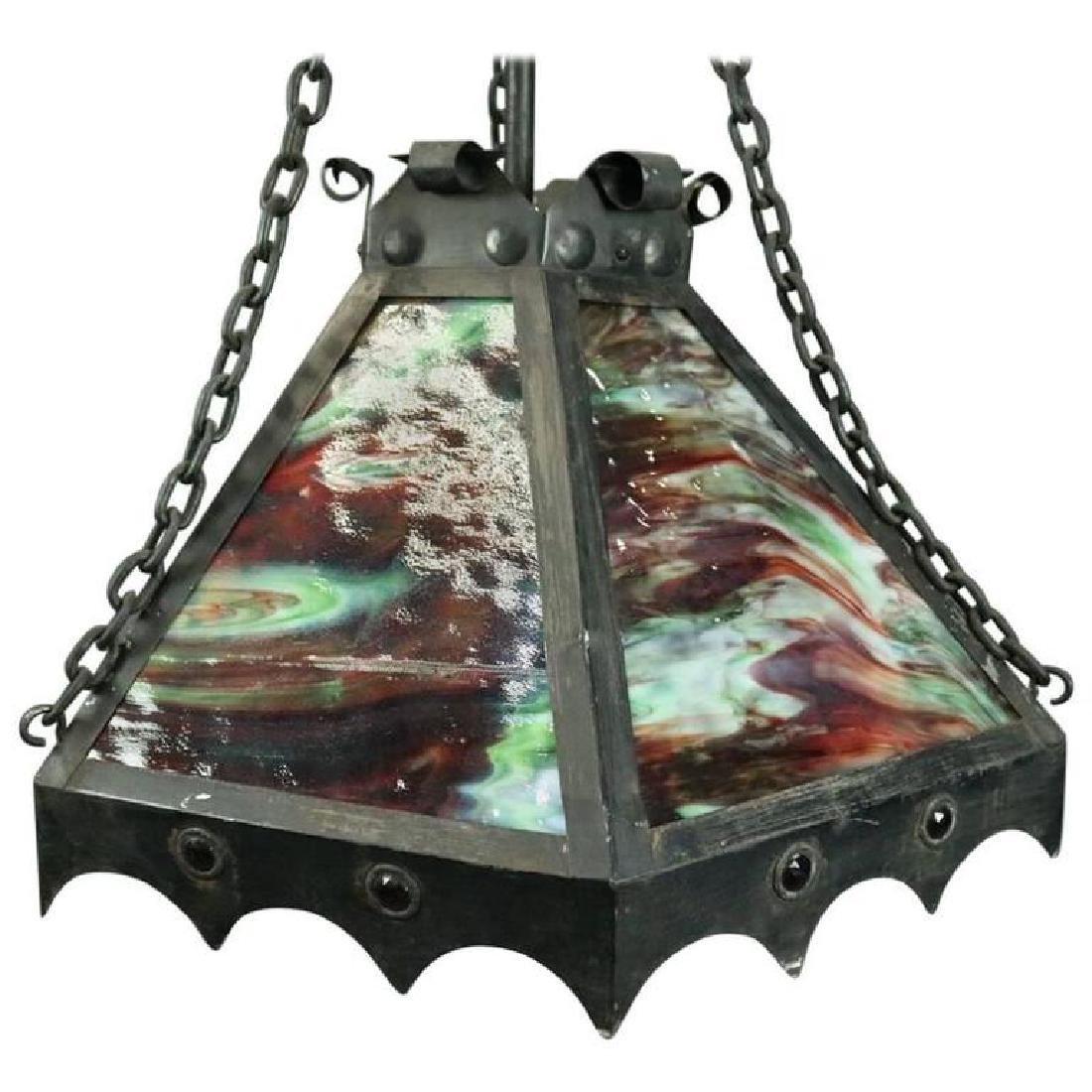 Antique Arts & Crafts Slag Glass 3-Light Hanging Light