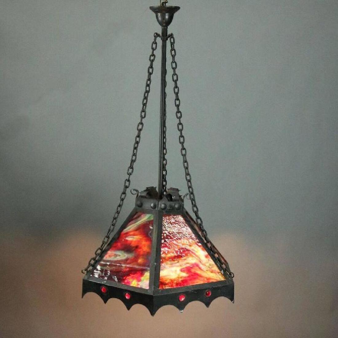 Antique Arts & Crafts Slag Glass 3-Light Hanging Light - 2