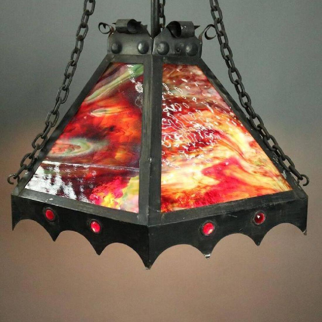 Antique Arts & Crafts Slag Glass 3-Light Hanging Light - 3