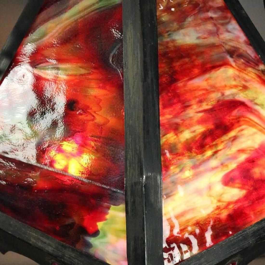 Antique Arts & Crafts Slag Glass 3-Light Hanging Light - 4