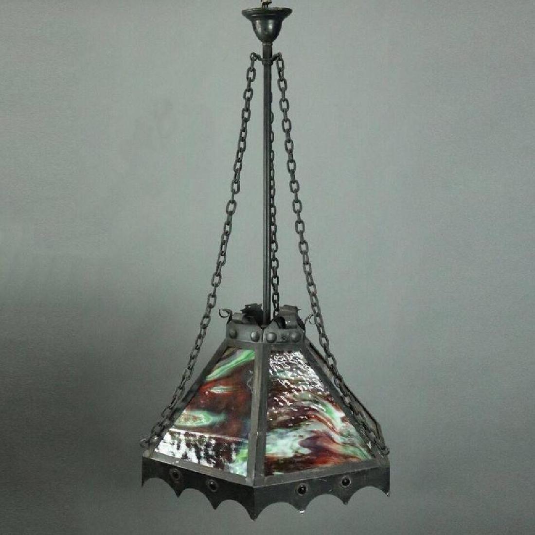 Antique Arts & Crafts Slag Glass 3-Light Hanging Light - 5