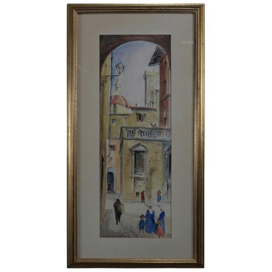 "French Street Scene ""Firenze Via Teatina"" Watercolor"