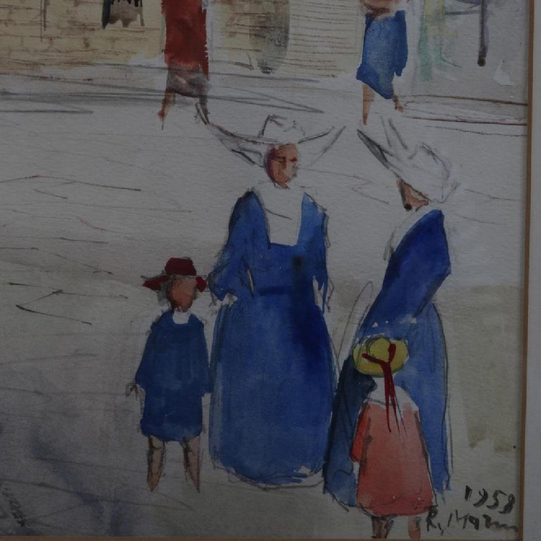 "French Street Scene ""Firenze Via Teatina"" Watercolor - 2"