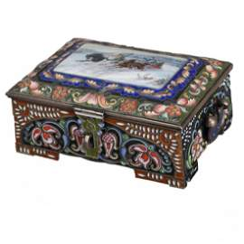 Russian .917 Silver Troika Box by F. Ruckert of Faberge