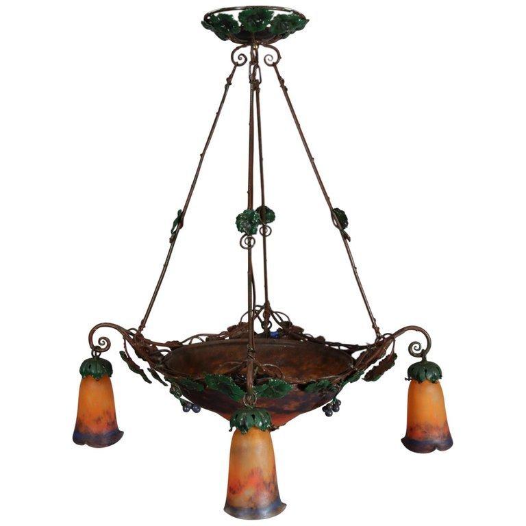Art Nouveau Muller Freres Luneville Signed Chandelier