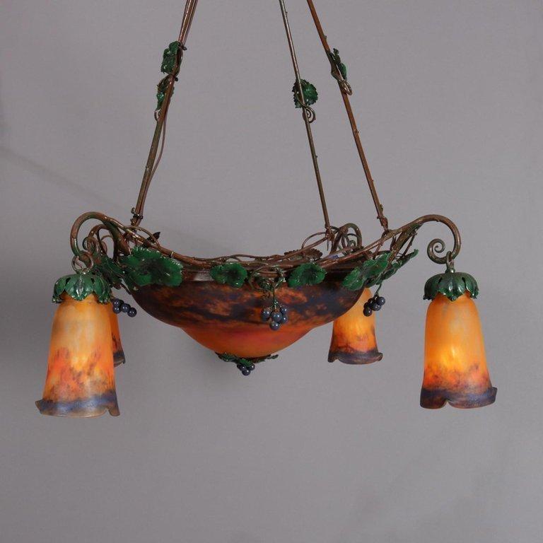 Art Nouveau Muller Freres Luneville Signed Chandelier - 6
