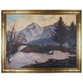 Antique Arts  Crafts Emile Gruppe School Oil on Canvas