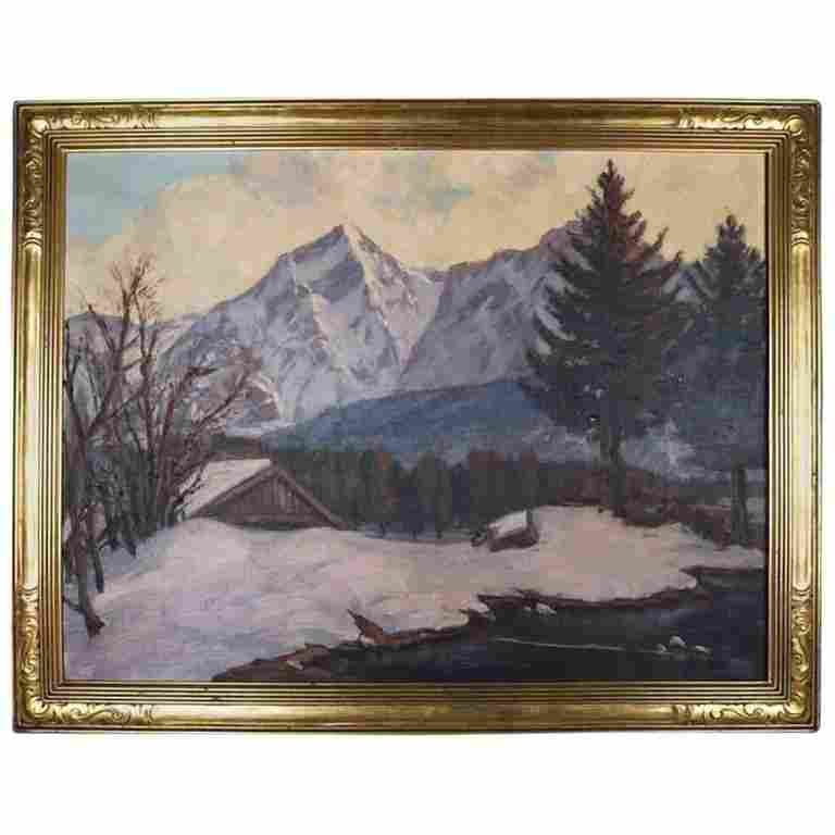 Antique Arts & Crafts Emile Gruppe School Oil on Canvas