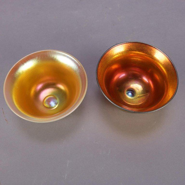 2 Arts & Crafts Brush Cups, Steuben Calcite & Aurene - 3