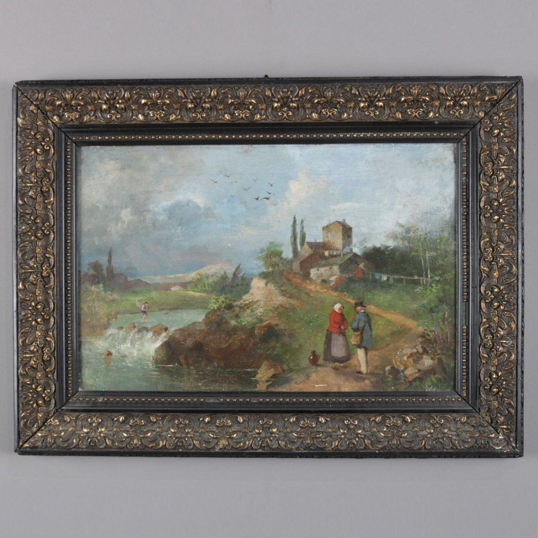 Antique Oil on Canvas Landscape Painting with Farm