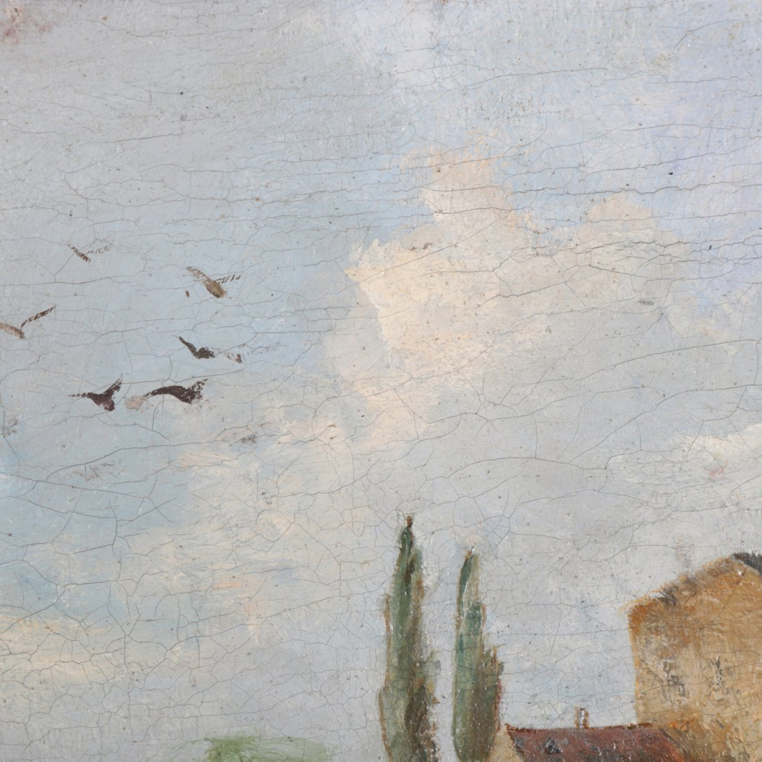 Antique Oil on Canvas Landscape Painting with Farm - 3