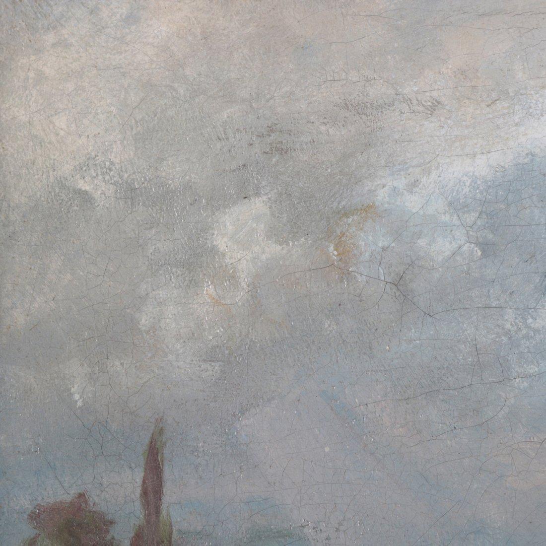 Antique Oil on Canvas Landscape Painting with Farm - 4