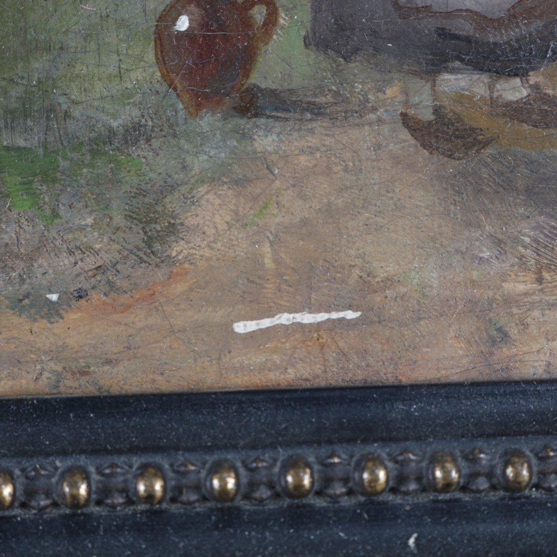 Antique Oil on Canvas Landscape Painting with Farm - 5