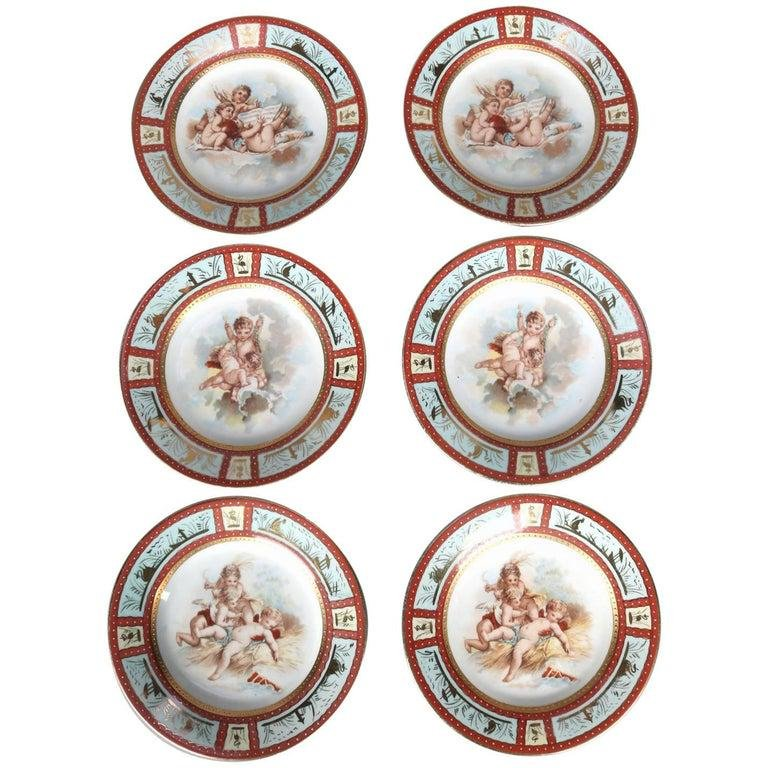 Six Antique Royal Vienna Classical Hand-Painted