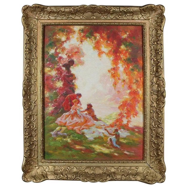 French Impressionist Classical Oil on Canvas, Signed