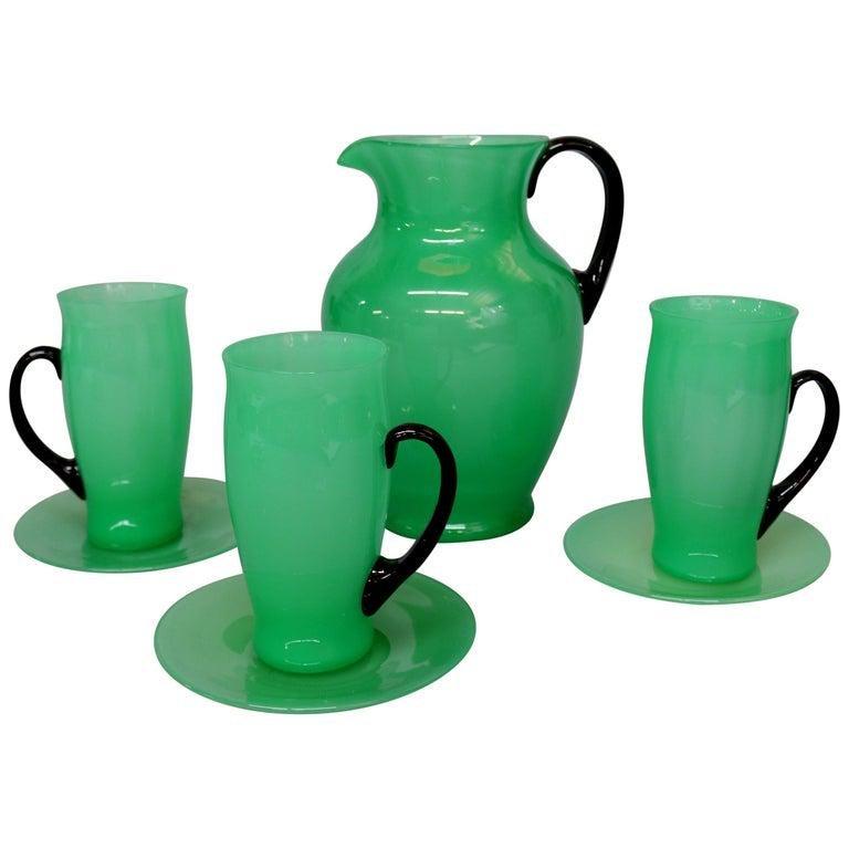Antique Steuben Jade Art Glass Chocolate Set