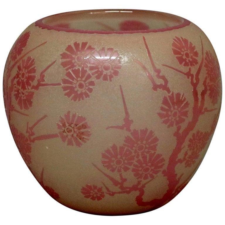 Antique Steuben Rosaline Cut Back Asian Style Vase