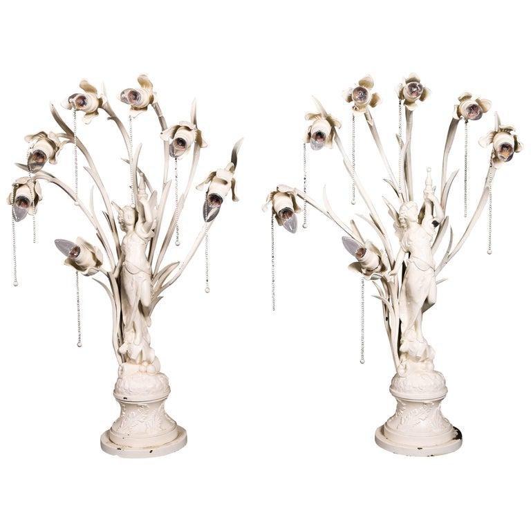Pair Oversized Art Nouveau Figural Lamps