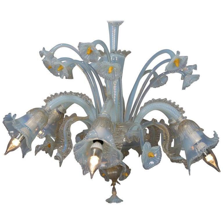 Vintage Venetian Blown Opalescent Glass Chandelier