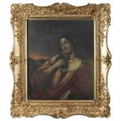 Antique English School Oil on Board Portrait Painting