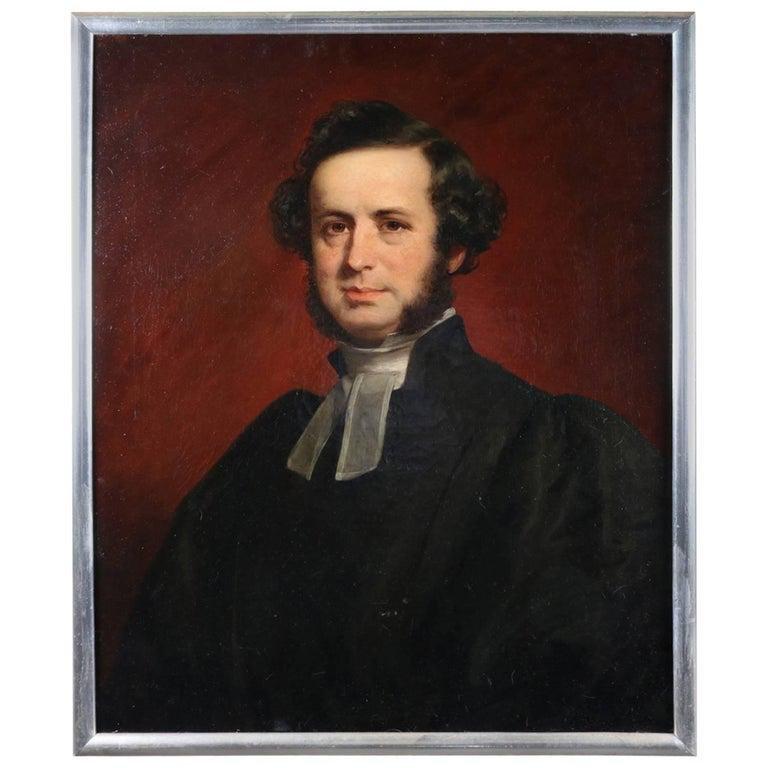 Antique Oil on Canvas Portrait of English Scholar
