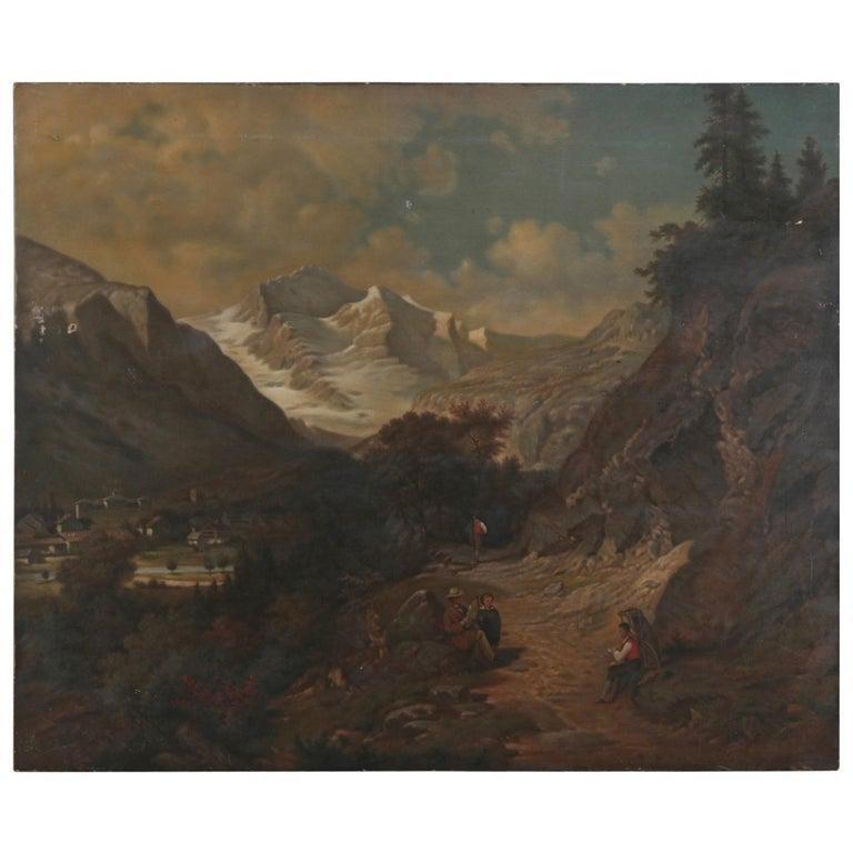 Antique Swedish Oil on Canvas Landscape Attr A. Erdmann